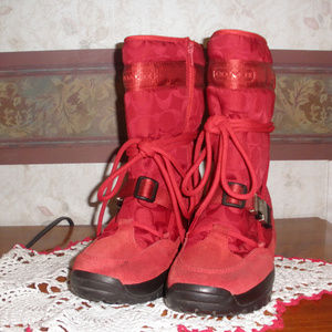 Coach Red C Logo Sela Boots Insulated